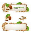 set banners with hazelnuts and ground nuts vector image