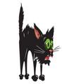cartoon image of scared black cat vector image