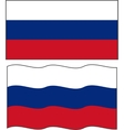 Flat and waving Russian Flag vector image
