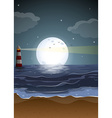 Fullmoon and beach vector image
