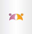 purple orange business people partners icon logo vector image