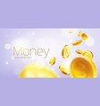 banner realistic gold coins flying purple vector image