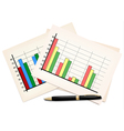 Business concept with finance graphs and black pen vector image