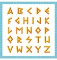 Greek font Golden bevel stick style letters vector image