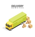 Isometric delivery car and set of cardboard boxes vector image