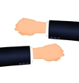 Mans hand right and left suit sleeve vector image