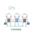translator helps foreign businessmen vector image