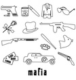 mafia criminal black outline symbols and icons set vector image