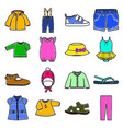 colored baby clothes icons set vector image