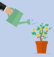 Hand watering idea plant vector image