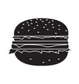 isolated hamburger silhouette vector image