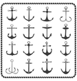 Set of sixteen hand drawn anchors vector image