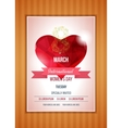 Heart on a light International Happy Women s Day vector image