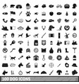 100 dog icons set simple style vector image