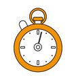 color silhouette cartoon yellow stopwatch icon vector image