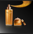 cosmetic product gold cream or liquid vector image