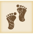 Grungy footprint icon vector image
