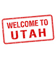 welcome to Utah red grunge square stamp vector image
