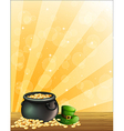A green hat and a pot of gold vector image vector image