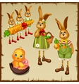 Family of rabbits and chicken in chocolate egg vector image