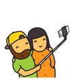 Cartoon couple making photo using smartphone and vector image