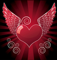 glossy heart with wings vector image