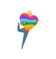 happy man holding big rainbow heart lgbt pride vector image