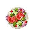 Salad of Sliced Vegetables Served Food vector image