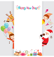 Santa Reindeer And Children With Banner vector image