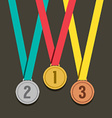 Three Golden Medals With Number vector image