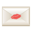Love letter with lipstick kiss vector image vector image