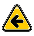arrow left sign triangular sticker vector image