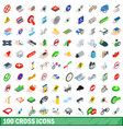 100 cross icons set isometric 3d style vector image
