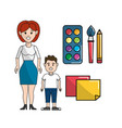 teacher and student with watercolor tools and vector image