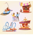 Amusement park cartoon set vector image