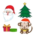 Christmas clip-art set in cartoon style Year of vector image
