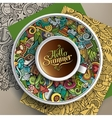Cup of coffee summer doodle vector image