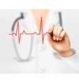 Doctor hand drawing cardiogram vector image
