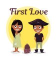 first love at school the boy wants to help carry vector image