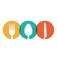 Fork spoon knife utensil kitchen badge vector image