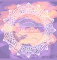 Mandala frame on grunge watercolor background vector image