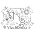 mexico map for top view of tourism promotional vector image