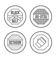 MMA Sport icons set Thin Line Style vector image