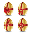 set of gold Easter eggs with bows vector image