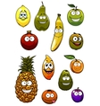 Tropical and garden fruits cartoon characters vector image