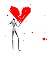 Valentine day Girl with broken heart vector image