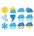 Weather doodle icons vector image