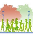 Silhouette green color people walking in street vector image