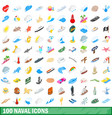 100 naval icons set isometric 3d style vector image