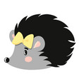 hedgehog with bow vector image